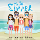 Young People Group On Sea Shore Sand Beach Summer Vacation Tourist On Holiday Concept. Flat Vector illustration Royalty Free Stock Images