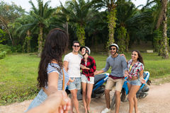 Young People Group Sitting Motorbike, Young Man And Woman Travel On Bike On Tropical Forest Road Stock Photos