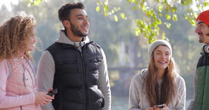 Young People Group Speak Hold Smart Phone Outdoor Sunrise, Two Couple Communication Morning Autumn Park Near Tree stock video