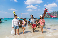 Young People Group Tourist Long Tail Thailand Boat Ocean Friends Sea Vacation Travel Trip Royalty Free Stock Photos