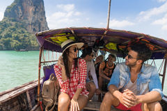 Young People Group Tourist Sail Long Tail Thailand Boat Ocean Friends Sea Vacation Travel Trip. Tropical Holiday Royalty Free Stock Images