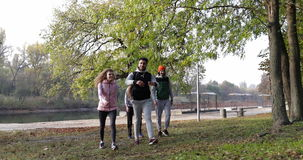 Young People Group Walking Countryside Two Couple Outdoor Near River Shore, Friends Speaking Morning Autumn Park. Slow Motion 60 Fps stock footage