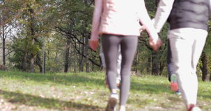 Young People Group Walking Forest Two Couple Holding Hands Outdoor Morning Autumn Park. Slow Motion 60 Fps stock video