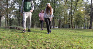 Young People Group Walking Two Couple Outdoor, Friends Speaking Morning Autumn Park. Slow Motion 60 Fps stock video