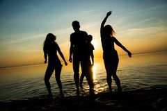 Young people, guys and girls, students are dancing on the beach. At sunset background, silhouettes. Dynamic photo Royalty Free Stock Photo