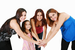 Young people with hands together - family concepts Stock Photo