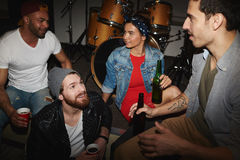 Young People Hanging Out in Underground Night Club Royalty Free Stock Photos