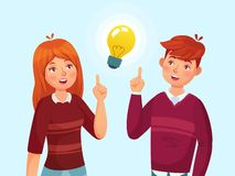 Young people have idea. Students couple having solution, teenagers ideas lamp bulb metaphor and teen cartoon vector stock illustration