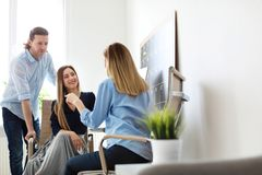 Young people having business training. In office royalty free stock photography