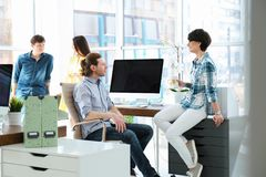 Young people having business training. In office stock photo