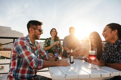 Young people having cocktail party Stock Images