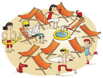 Young people having fun on a beach. Vignette illustration. Illustration is hand drawn, elements are isolated and is in eps10  mode Stock Photos