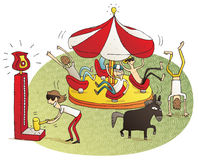 Young people having fun in fun fair. Vignette illustration. Illustration is hand drawn, elements are isolated and is in eps10  mode Royalty Free Stock Photos