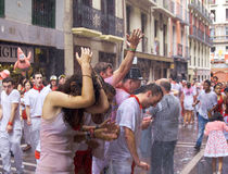 Young people having fun at opening of San Fermin f Stock Image