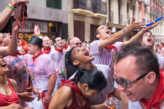 Young people having fun at opening of San Fermin f Royalty Free Stock Photos