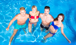 Young people having fun in the pool Royalty Free Stock Image
