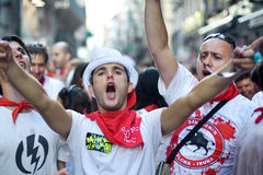 Young people having fun at San Fermin festival Stock Photo