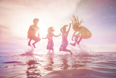 Young people having fun in the sea royalty free stock photo