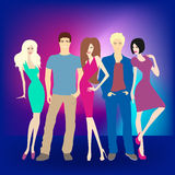 Young people having party. A vector illustration of young people having New Year's celebration party Royalty Free Stock Photos