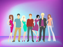 Young people having party. A vector illustration of young people having New Year's celebration party Stock Photos