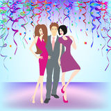 Young people having party. A vector illustration of young people having New Year's celebration party Stock Photo
