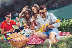Young people having picnic near the river. Royalty Free Stock Photography