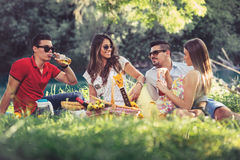 Young people having picnic near the river. Royalty Free Stock Photos