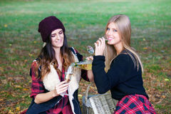 Young people having picnic in park. Stock Photo