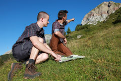 Young people hiking Royalty Free Stock Photo