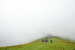 Young people are hiking in Carpathian mountains Stock Photography