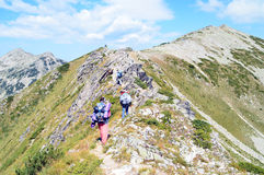 Young People Hiking up on Rocky Mountain Slope Royalty Free Stock Image