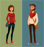 Young people in hipster fashion clothes Stock Photos