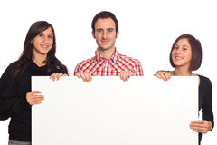 Young People hold Blank Sign Stock Image