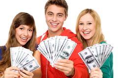 Young people holding money Stock Image