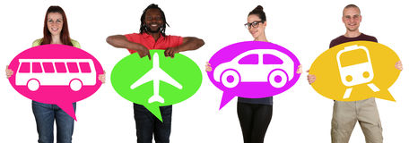 Young people holding speech bubbles with bus, train, car or plan Stock Image