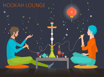 Young people  in hookah lounge Stock Photos