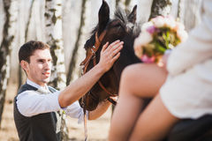 Young people horseriding Royalty Free Stock Photography