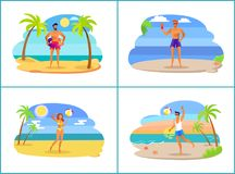 Young People on Hot Tropical Beach near Sea Set royalty free illustration
