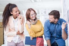 Young people on internship. Picture of two young people on internship in corporation stock image