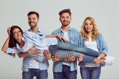 Young people in jeans Stock Photo