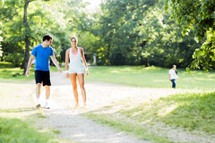 Young people jogging in nature Royalty Free Stock Images