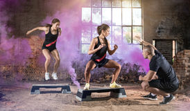 Young people jump on their condition training Royalty Free Stock Photo