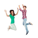 Young people jumping isolated Stock Photo