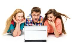 Young people with laptop Stock Photo