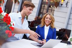 Young people with laptop Stock Photos