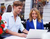 Young people with laptop Royalty Free Stock Photography
