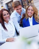 Young people with laptop Stock Image