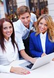 Young people with laptop Royalty Free Stock Photo