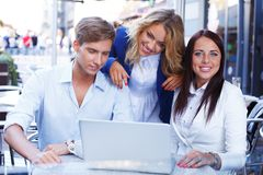 Young people with laptop Royalty Free Stock Images