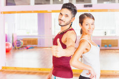 Young people lead a healthy lifestyle, exercise in fitness room Stock Image